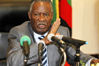 President Michael Sata addresses the press at State House where he announced the suspension of Supreme Court judge Philip Musonda and two High Court judges, Charles Kajimanga and Nigel Mutuna on Monday April 30, 2012 - Picture by Joseph Mwenda