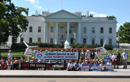Demonstrators camp outside White House in a 2011 protest against Keystone XL Pipeline