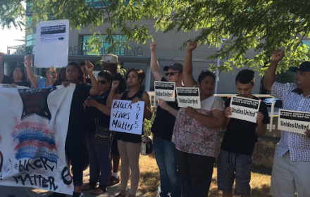 La Voz local Latinos Unidos Holds Rally in Support of Black Lives Matter - Latinos Unidos  rally