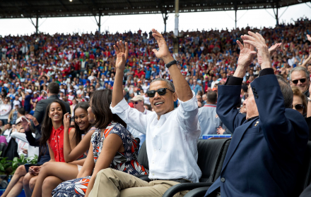 On March 22, 2016, during an exhibition baseball game between the Tampa Bay Rays and the Cuban National Team in Havana, Cuba, President Obama and President Raúl Castro of Cuba spontaneously joined in 'the wave' that others in the crowd had started. President Obama has sought to normalize relations with Cuba. But the future of that relationship remains uncertain under the future administration of now President-elect Donald Trump. PHOTO: Pete Souza/The White House