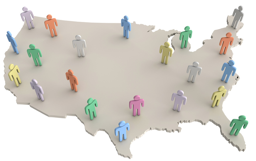 USA population people standing on America map