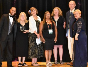 Child Care Council received the Project of the Year award at the recent NAFCC conference in Alabama. Pictured (from left to right): Hector Santiago; Council CEO Barbara-Ann Mattle; Linda Schumacher, NAFCC accreditation council chair; provider Carmen Gonzalez; Lynne Fisher; Ed Maier; and provider Juanita Sanchez.