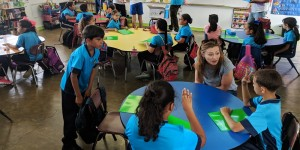 Education Secretary Julia Keleher visits students at a school in Catano, Puerto Rico in March. PHOTO: NBC News