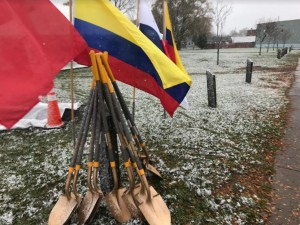 Shovels stand ready for the ceremonial groundbreaking of La Marketa on Nov. 7, 2019. Photo by Patti Singer/Minority Reporter Media Group