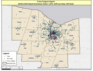 Red indicates the site of fatal overdoses and blue indicates nonfatal overdoses in Monroe County in 2018 and 2019. Provided by Monroe County Heroin Task Force