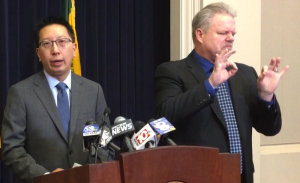 Monroe County Department of Public Health Commissioner Dr. Michael Mendoza, left, at a news conference March 12, 2020 about COVID-19. File photo