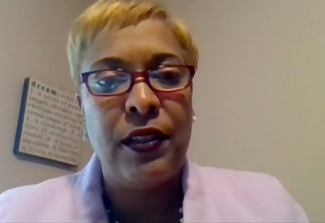 New RCSD Superintendent Lesli Myers-Small answers questions during a Zoom news conference after her hiring was announced. Patti Singer/Minority Reporter Media Group