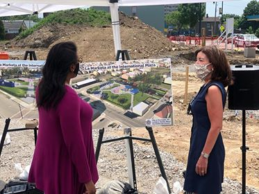 Rochester Mayor Lovely Warren shows Lt. Gov. Kathy Hochul what La Marketa will look like when completed. Photo by Tyronda James/Minority Reporter Media Group