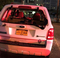 A car belonging to the city of Rochester was vandalized May 30, 2020, in a parking lot across from the Public Safety Building. Police have begun announcing arrests in the riot and looting that followed a peaceful protest. Photo by Patti Singer/Minority Reporter Media Group