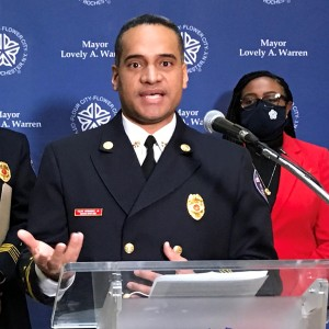 Felipe Hernandez was announced as interim chief of the Rochester Fire Department on Jan. 14, 2021. His appointment takes effect the end of February.  Retiring Chief Will Jackson is at left and Mayor Lovely Warren is at right. Patti Singer/Minority Reporter Media Group