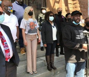 Nicholas Robertson, front right, is among plaintiffs in a class action civil rights lawsuit against the city and Rochester Police Department filed April 5, 2021. Photo by Patti Singer/Minority Reporter Media Group.