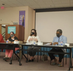 Panelists from the Culturally Responsive Teaching program, August 19 event at the Rochester Public Library – hosted by Parent Leadership Training Institute (PLTI). Photo from the PLTI Facebook page.